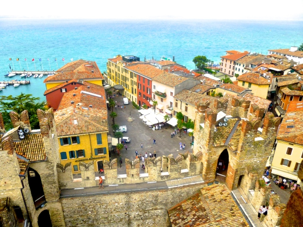View from the top of the fortress in Sirmione, Italy