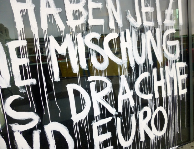 Protest on a Bank Window