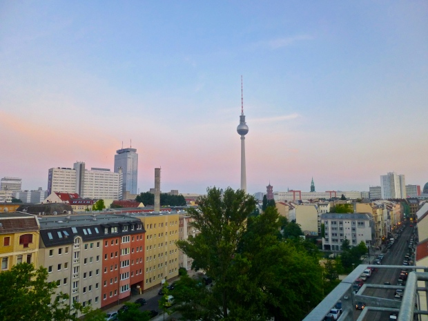 Berlin at Sunset from our Hostel in Mitte